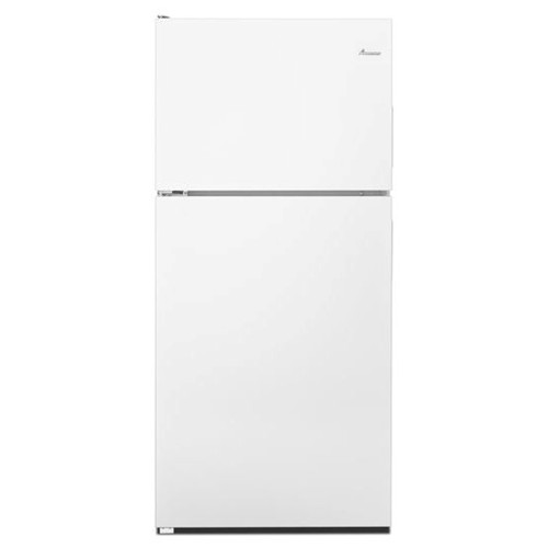 Amana 18 C/F Refrigerator with Top Freezer  Glass Shelves, No Ice Maker, ADA Compliant,ART318FFDW, White