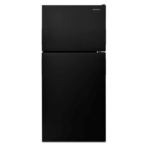 Amana 18 C/F Refrigerator with Top Freezer Wire Shelves, No Ice Maker, ART308FFDB, Black