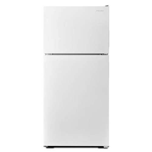 Amana 18 C/F Refrigerator with Top Freezer Wire Shelves, No Ice Maker, ART308FFDW, White