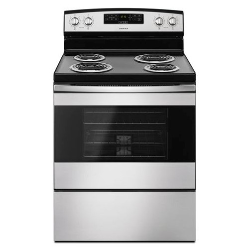 "Amana 30"" Freestanding Electric Range Coil Top, Clock, Timer, Window, Self Clean, ACR4303MFS, Stainless Steel"