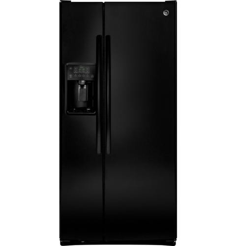 General Electric 23.2 C/F Refrigerator Side by Side with Water/Ice Dispenser, Glass Shelves, Energy Star, GSE23GGKBB, Black