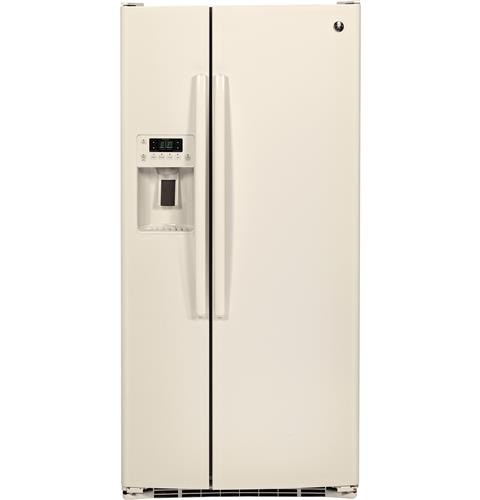 General Electric 23.2 C/F Refrigerator Side by Side with Water/Ice Dispenser, Glass Shelves, Energy Star, GSE23GGKCC, Bisque