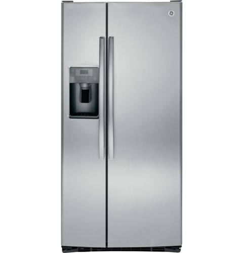 General Electric 23.2 C/F Refrigerator Side by Side with Water/Ice Dispenser, Glass Shelves, Energy Star, GSE23GGKSS, Stainless Steel
