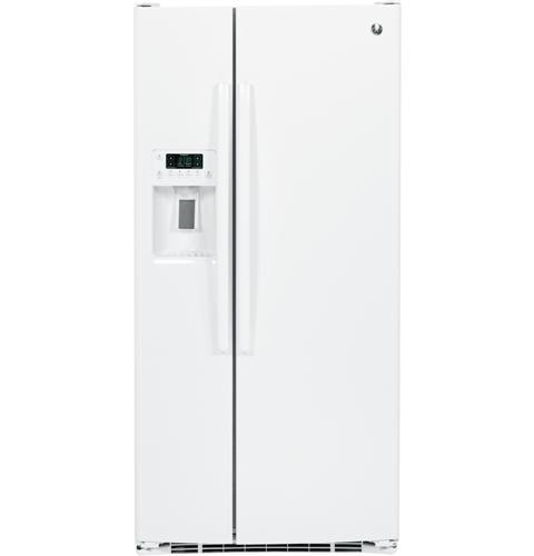 General Electric 23.2 C/F Refrigerator Side by Side with Water/Ice Dispenser, Glass Shelves, Energy Star,  GSE23GGKWW, White
