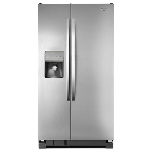 Whirlpool 25 C/F Side-By-Side with Refrigerator  with Water/Ice Dispenser,  Glass Shelves,WRS325FDAW, White