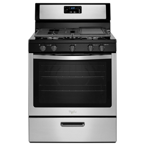 "Whirlpool 30"" Freestanding Gas Range, Manual Clean, Clock, Window, Electric Ignition, WFG320MOBS, Stainless Steel"
