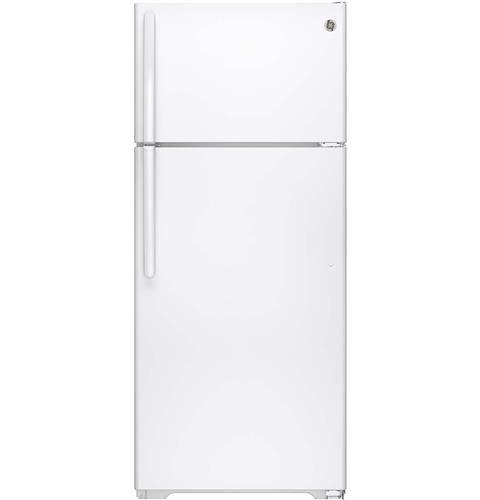 General Electric 18 C/F Refrigerator with Top Freezer, Wire Shelves, No Ice Maker, GTS18CTH  Series, White