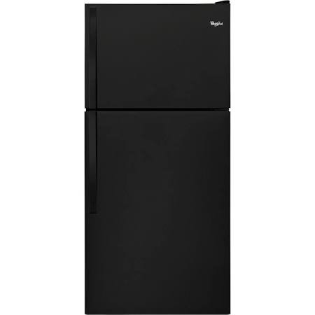 Whirlpool 18 C/F Refrigerator with Top Freezer Wire Shelves, No Ice Maker, ADA Compliant,WRT108FZDB, Black
