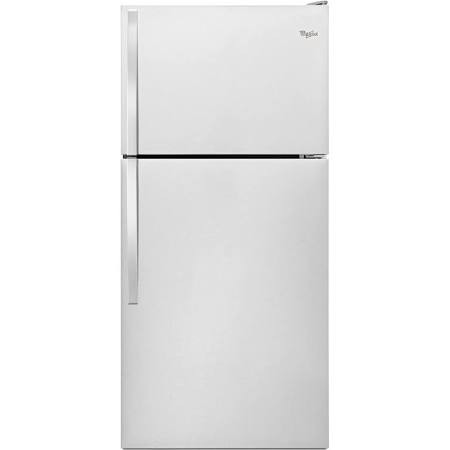Whirlpool 18 C/F Refrigerator with Top Freezer Wire Shelves, No Ice Maker, ADA Compliant,WRT108FZDM, Stainless Steel