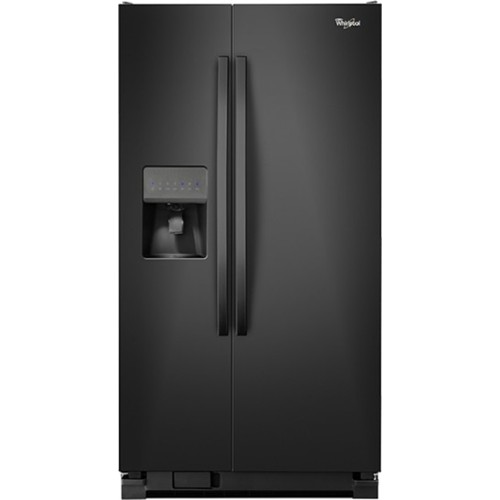 Whirlpool 25 C/F Side-By-Side with Refrigerator  with Water/Ice Dispenser,  Glass Shelves, WRS325FDAB, Black