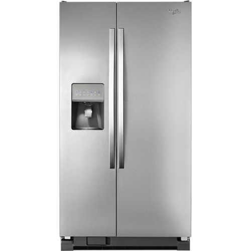 Whirlpool 25 C/F Side-By-Side with Refrigerator  with Water/Ice Dispenser,  Glass Shelves, WRS325FDAM, Stainless Steel