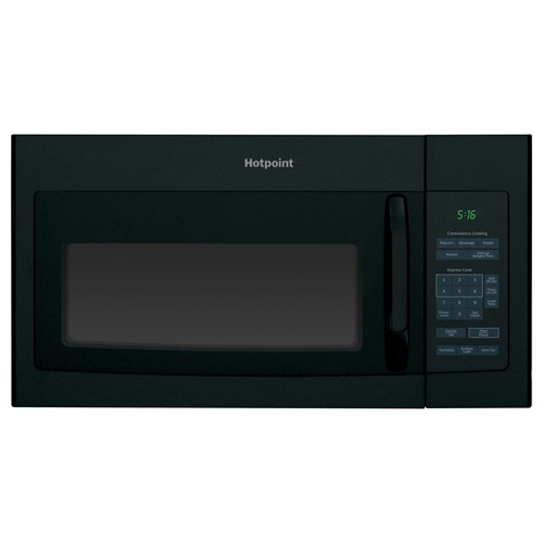 Hotpoint Microwave 1.6 C/F  Over-The-Range, 1000 Watts, 2 Speed, 200 CFM Vent, Convertible, RVM5160DHBB, Black