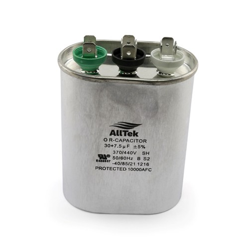 AllTek Oval Run Capacitor  30 + 7.5 MFD x 370/440V