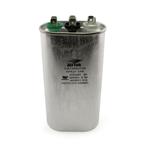 AllTek Oval Run Capacitor  55  +5  MFD x 370/440V