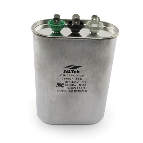 AllTek Oval Run Capacitor  75 + 5  MFD x 370/440V
