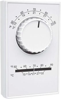 TPI Corporation Thermostat, SPDT 1H/1C w/Thermometer Line Voltage ET Series