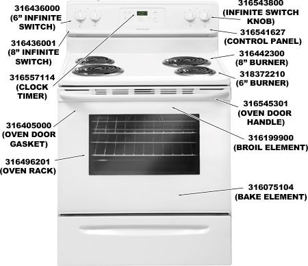 Frigidaire 316075104 Bake Element