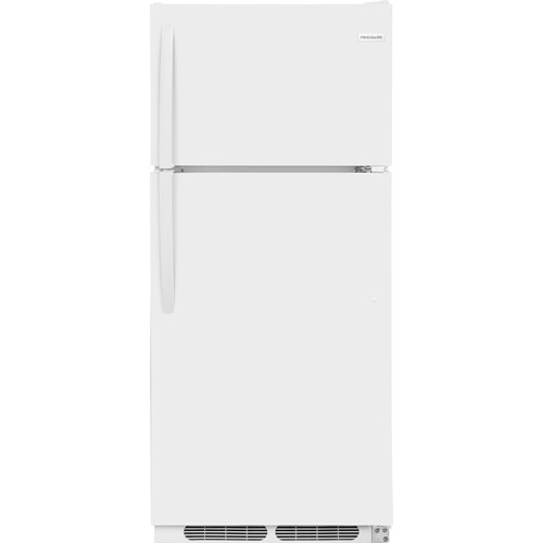 Frigidaire 16 C/F Refrigerator with Top Freezer, Energy Star, Glas Shelves, No Ice Maker, ADA Compliant, FFTR1621TW, White