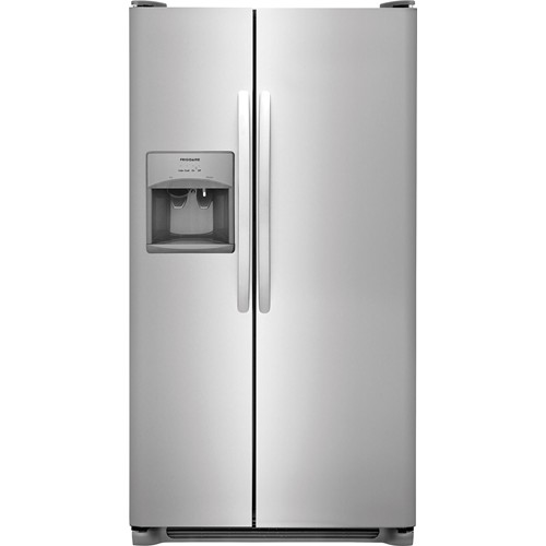 Frigidaire 23 C/F Refrigerator Side by Side with Water/Ice Dispenser with Ice Maker,   Glass Shelves, FFSS2315TS , Stainless Steel