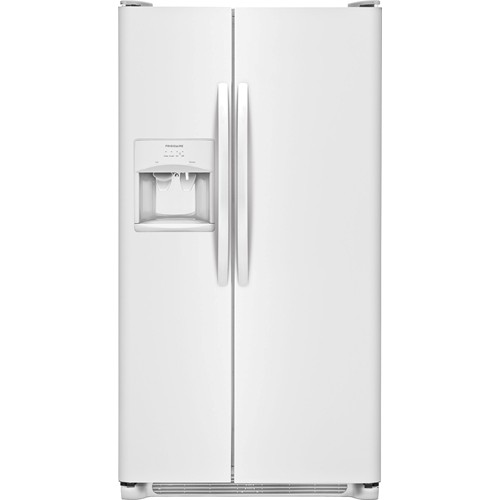 Frigidaire 26 C/F Side-By-Side with Refrigerator  with Water/Ice Dispenser, Glass Shelves. FFHS2615TP, White