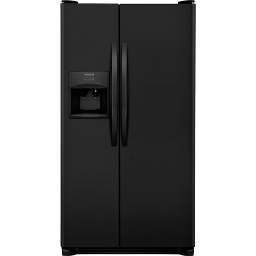 Frigidaire 26 C/F Side-By-Side with Refrigerator  with Water/Ice Dispenser, Glass Shelves. FFSS2615TE, Black