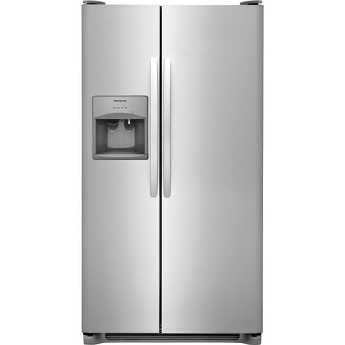 Frigidaire 26 C/F Side-By-Side with Refrigerator  with Water/Ice Dispenser, Glass Shelves. FFSS2615TS, Stainless Steel