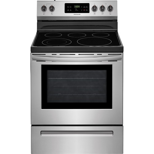 "Frigidaire 30"" Freestanding Electric Range Smoothtop Self Clean, Window, Clock. FFEF3054TS, Stainless Steel"
