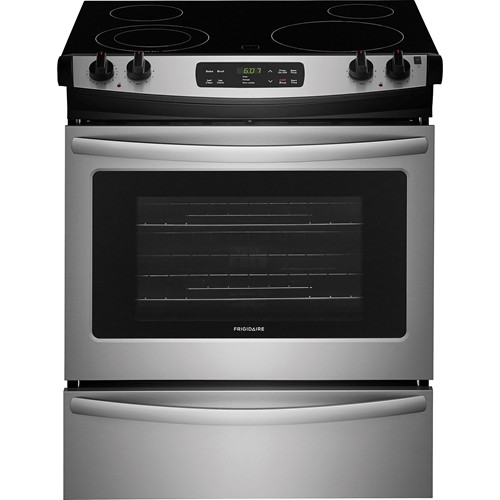 "Frigidaire 30"" Slide-In Electric Smooth top Range Window, Clock, Self Clean, ADA Compliant, FFES3026TS, Stainless Steel"