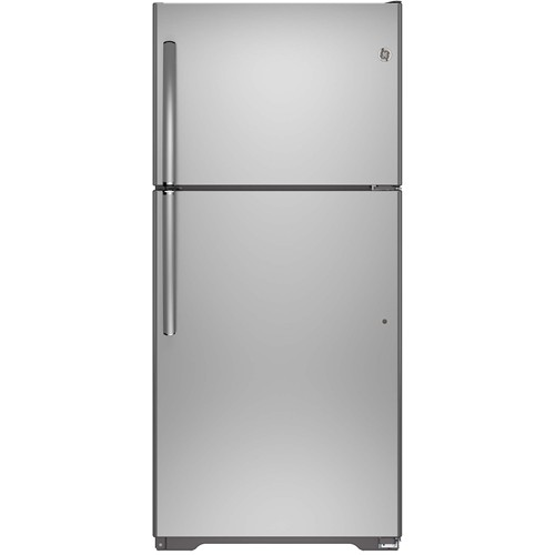 General Electric 18.2 C/F Refrigerator with Top Freezer  Glass Shelves, No Ice Maker,  Energy Star, GIE18ISHSS, Stainless Steel
