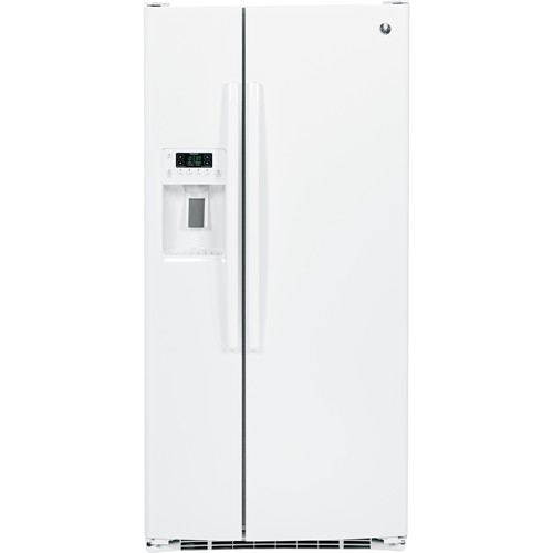 General Electric 23.2 C/F Refrigerator Side by Side with Water/Ice Dispenser, Glass Shelves GSS23HGHWW, White
