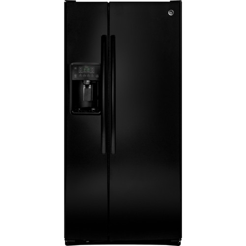 General Electric 23.2 C/F Refrigerator Side by Side with Water/Ice Dispenser, Glass Shelves, GSS23HGHBB, Black