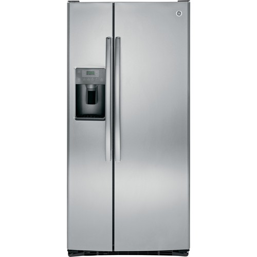 General Electric 23.2 C/F Refrigerator Side by Side with Water/Ice Dispenser, Glass Shelves, GSS23HSHSS, Stainless Steel