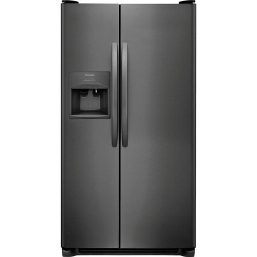 Frigidaire 26 C/F Side-By-Side with Refrigerator  with Water/Ice Dispenser, Glass Shelves. FFSS2615TD, Black Stainless Steel