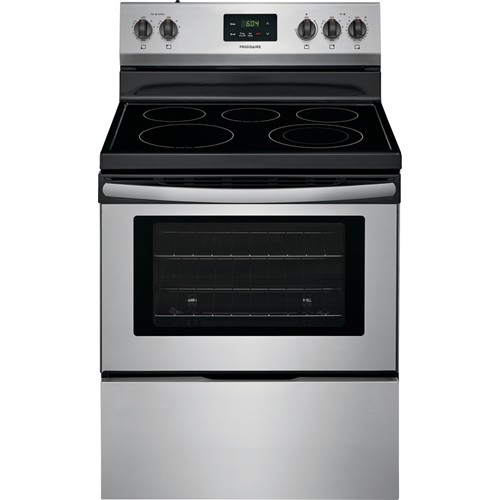 "Frigidaire 30"" Freestanding Electric Range Smoothtop Manual Clean, Window, Clock. FFEF3052TS, Stainless Steel"