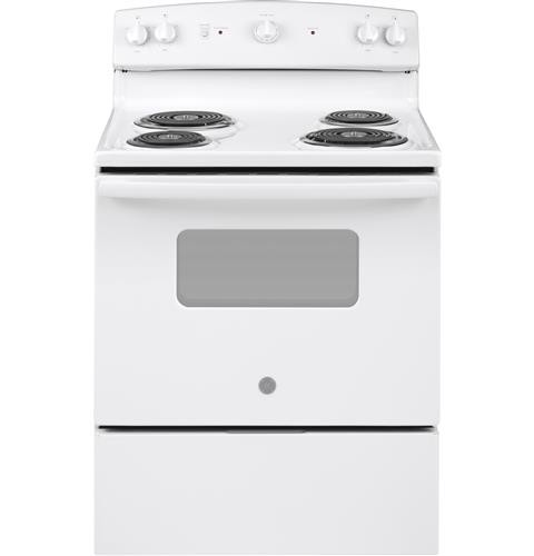 "General Electric 30"" Freestanding Electric Range Coil Burners, Window, Clock, Manual Clean, JB258DMWW, White"