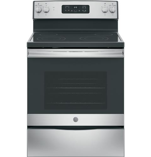 "General Electric 30"" Freestanding Electric Range Smoothtop, Window, Clock, Self Clean. JB645RKSS, Stainless Steel"