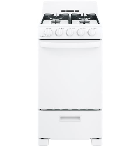 "Hotpoint 20"" Freestanding Gas Range Electric Ignition, Manual Clean, RGAS200DMWW, White"