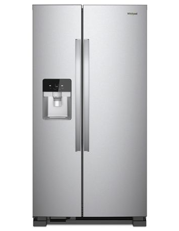 Whirlpool 21 C/F Refrigerator Side by Side with Water/Ice Dispenser, Glass Shelves,WRS321SDHZ, Stainless Steel