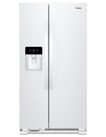 Whirlpool 25 C/F Side-By-Side with Refrigerator  with Water/Ice Dispenser,  Glass Shelves,WRS325SDHW, White