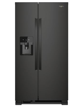 Whirlpool 25 C/F Side-By-Side with Refrigerator  with Water/Ice Dispenser,  Glass Shelves, WRS325SDHB, Black