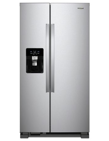 Whirlpool 25 C/F Side-By-Side with Refrigerator  with Water/Ice Dispenser,  Glass Shelves, WRS325SDHZ, Stainless Steel