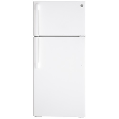 General Electric 16.6 C/F Refrigerator with Top Freezer,Energy Star, Glass Shelves, No Ice Maker, ADA Compliant  , GTE17GTNRWW, White