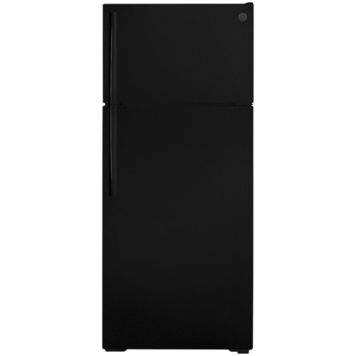 General Electric 18 C/F Refrigerator with Top Freezer, Glass Shelves, LED Lighting, No Ice Maker, GTS18GTNRBB, Black