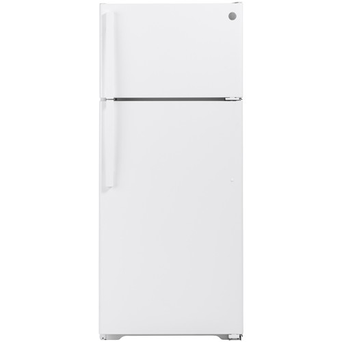 General Electric 18 C/F Refrigerator with Top Freezer, Glass Shelves, LED Lighting, No Ice Maker, GTS18CTHRWW, White