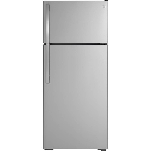 General Electric 18 C/F Refrigerator with Top Freezer, Energy Star, LED Lighting, Glass Shelves, Factory Ice Maker, GIE18GSNRSS, Stainless Steel
