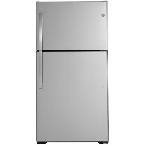 General Electric 21.9 C/F Refrigerator with Top Freezer, LED Lighting, Glass Shelves, Factory Ice Maker, Energy Star, GTE22JTNRSS, Stainless Steel