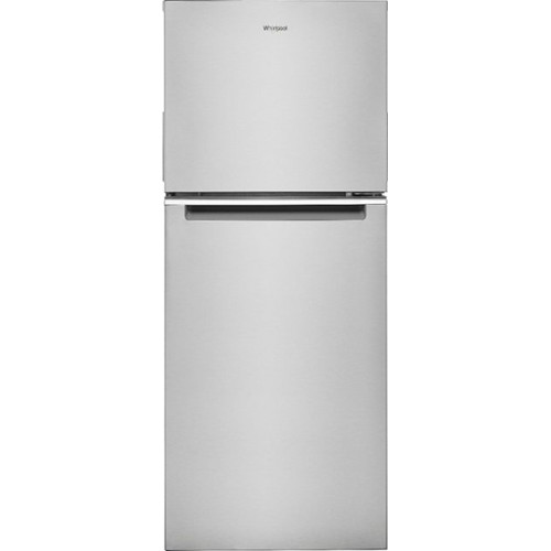 Whirlpool 11 C/F Refrigerator with Top Freezer Glass Shelves, No Ice Maker, ADA Compliant, WRT112CZJZ, Stainless Steel