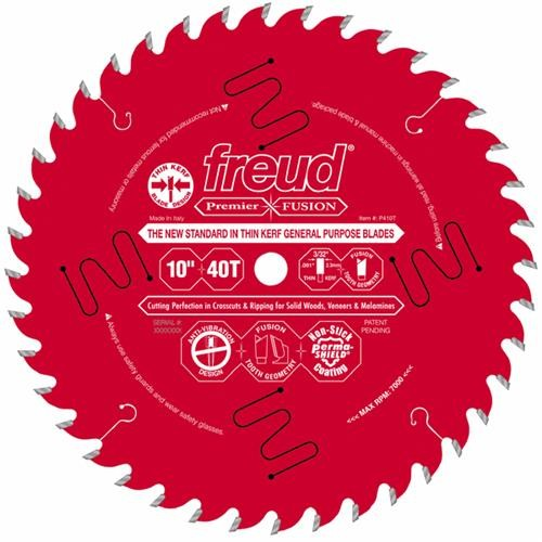 "Freud Inc 10"" Thin Kerf Premier Fusion General-Purpose Circular Saw Blade"