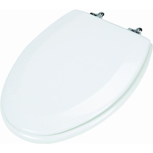 Bemis/Mayfair Premium Wood Beveled Elongated Toilet Seat With Chrome Hinge
