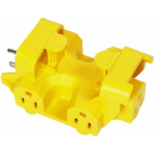 Woods Ind. Yellow Outdoor Multi-Outlet Tap
